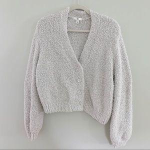 BP Fluffy Cardigan Sweater Gray White M Nordstrom